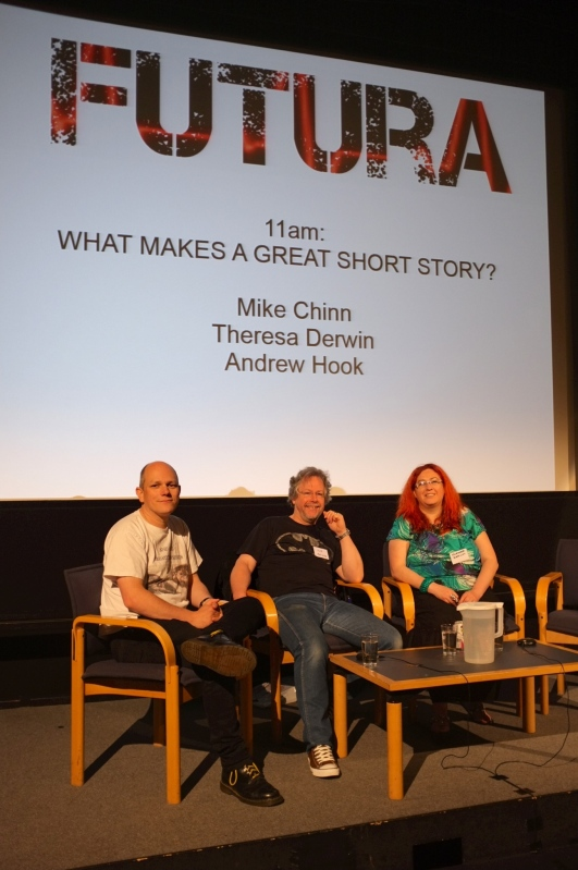 Andre Hook, Mike Chinn and Theresa Derwin presented the short story panel