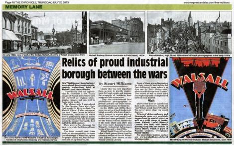 Memory Lane by Stuart Williams Walsall Chronicle 25 July 2013