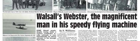 Memory Lane article on Flt Lt Webster, Walsall Chronicle 13 Feb 2014 p12