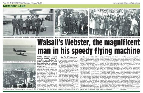 Memory Lane article on Flt Lt Webster, Walsall Chronicle 13 Feb 2014 p12