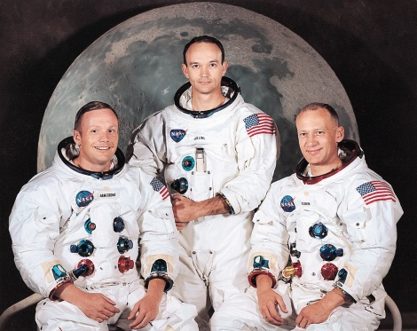 The Crew of Apollo 11: Neil Armstrong, Michael Collins and Buzz Aldrin. Real space heroes! (courtesy NASA)