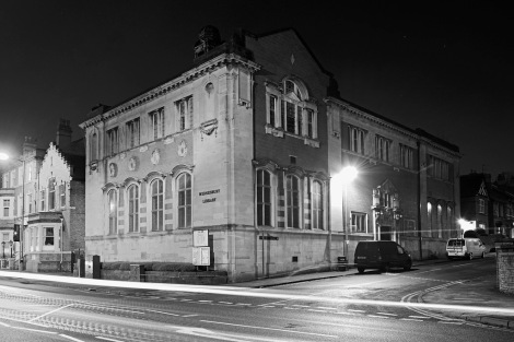 Wednesbury Library by night, 2014 (Gary Crutchley, click for link)